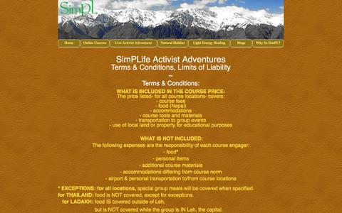 Screenshot of Terms Page thesimplife.com - Activist Terms, Conditions & Liability - captured Oct. 21, 2017