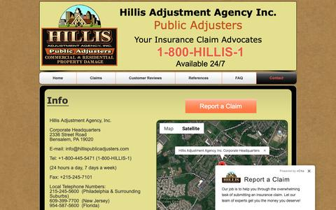 Screenshot of Contact Page hillis1.com - Hillis Adjustment Agency-Contact - captured Dec. 15, 2018