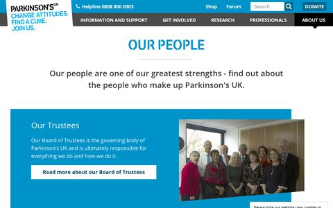 Screenshot of Team Page parkinsons.org.uk - Our people | Parkinson's UK - captured March 23, 2019
