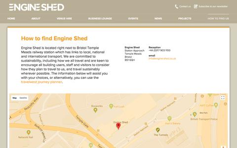 Screenshot of Contact Page Maps & Directions Page engine-shed.co.uk - How to find us |  Bristol & Bath's Engine Shed - captured July 19, 2018
