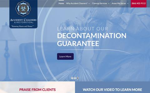 Screenshot of Home Page accidentcleaners.com - Biohazard Clean Up,  Crime& Blood & Death Cleanup in Orlando, Tampa,FL - captured July 28, 2018