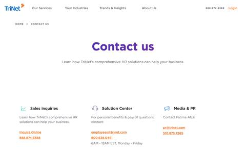 Screenshot of Contact Page trinet.com - Contact Us | Sales Offices | TriNet - captured Feb. 23, 2019