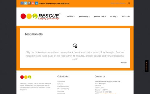 Screenshot of Testimonials Page rescuefirst.com - Testimonials | Rescue First 24/7 Roadside Assistance - captured Nov. 5, 2014