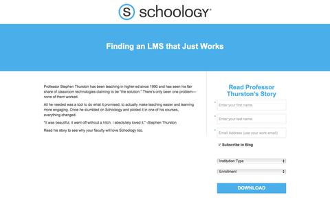 Screenshot of Landing Page schoology.com - Finding an LMS that Just Works - captured Jan. 23, 2018