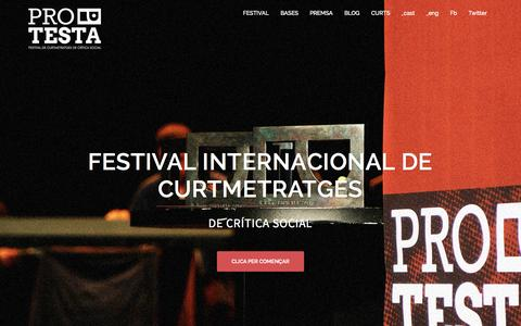 Screenshot of Home Page festivalprotesta.cat - FESTIVAL PROTESTA | Festival internacional de curtmetratges de crítica social - captured Aug. 28, 2015