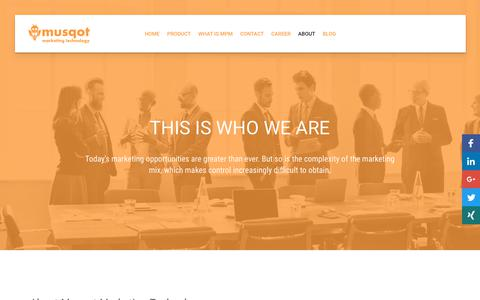 Screenshot of About Page musqot.com - About Us And Our Core Focus - Musqot Marketing Technology - captured Oct. 22, 2017