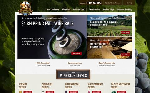 Screenshot of Home Page cawineclub.com - Wine of the Month Club | Wine Clubs | The California Wine Club - captured Sept. 19, 2014