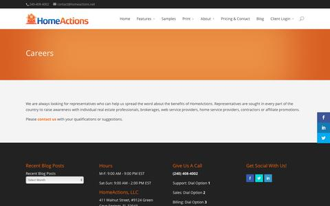 Screenshot of Jobs Page homeactions.net - Careers – HomeActions - captured July 21, 2018