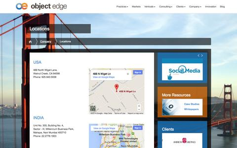 Screenshot of Locations Page objectedge.com - Locations | Object Edge - captured Oct. 7, 2014