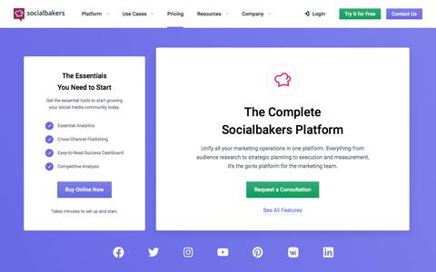 Screenshot of Pricing Page socialbakers.com - Select Your Socialbakers Suite Plan | Socialbakers - captured Oct. 30, 2019