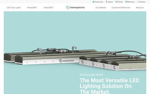 Screenshot of Home Page heliospectra.com - Heliospectra | Industry-leading LED lighting solutions for commercial greenhouse growers and horticulture producers. - captured July 5, 2019