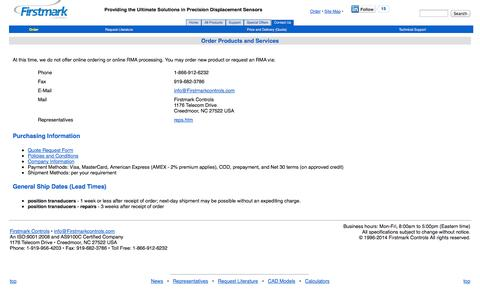 Screenshot of Contact Page firstmarkcontrols.com - Order Products and Services - captured Sept. 30, 2014