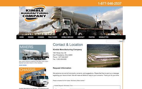 Screenshot of Contact Page kimblemixer.com - Contact Kimble Mixer & Kimble Custom Chassis | Kimble Mixer - captured Oct. 6, 2014