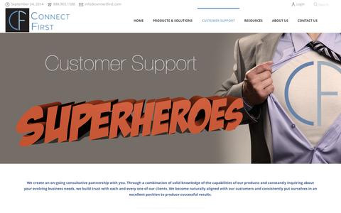 Screenshot of Support Page connectfirst.com - Customer Support & Company Culture   Connect First - captured Sept. 24, 2014