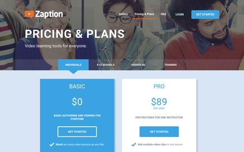 Screenshot of Pricing Page zaption.com - Membership and Pricing Plans - Zaption - captured Oct. 14, 2015