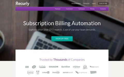 Screenshot of Home Page recurly.com - Subscription Billing and Recurring Billing Experts | Recurly - captured July 12, 2014