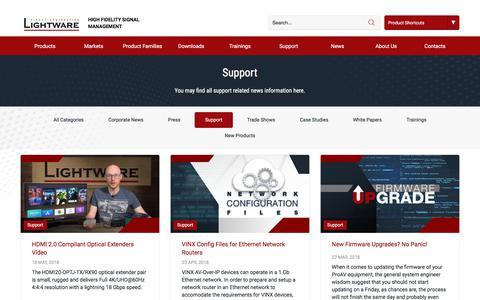 Screenshot of Support Page lightware.com captured July 20, 2018
