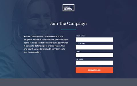 Screenshot of Signup Page kirstengillibrand.com - Kirsten Gillibrand for Senate  |  Join the campaign - captured Sept. 23, 2018