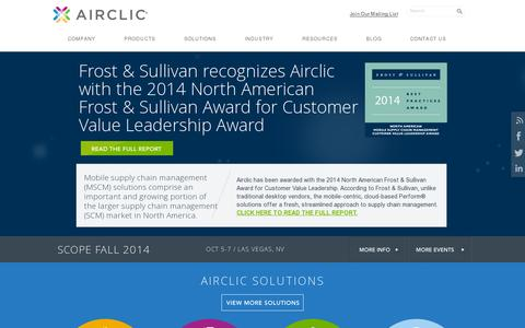Screenshot of Home Page airclic.com - Mobile Supply Chain & Proof of Delivery solutions | Airclic - captured July 17, 2014