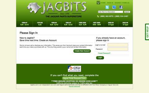 Screenshot of Login Page jagbits.com - Jagbits Jaguar Parts: Customer Login - captured Oct. 6, 2014