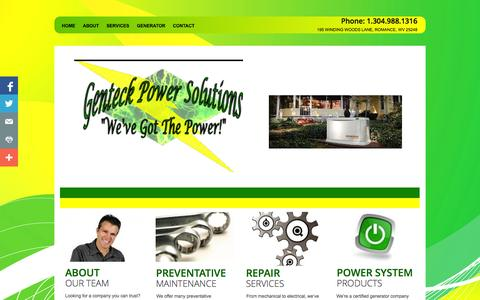 Screenshot of Home Page genteckrepair.com - West Virginia's #1 Source for Generators - captured Oct. 2, 2014