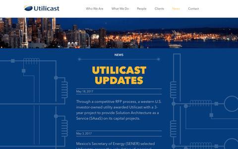 Screenshot of Press Page utilicast.com - News - Utilicast Energy and Utilities Consultants - captured June 12, 2017