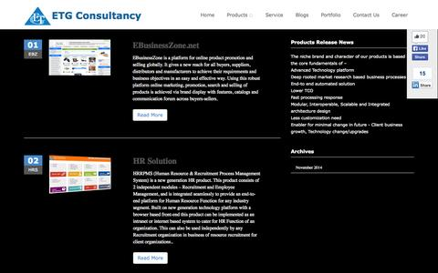 Screenshot of Products Page etgconsultancy.com - eCommerce Development Company in India, Best Software development company in Mumbai India -ETG Consultancy - captured Oct. 28, 2014