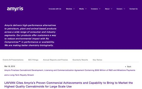 Screenshot of Press Page amyris.com - Amyris Finalizes Cannabinoid Development, Licensing and Commercialization Agreement Containing $300 Million of R&D and Milestone Payments and a Long-Term Royalty Stream   Amyris - captured May 24, 2019