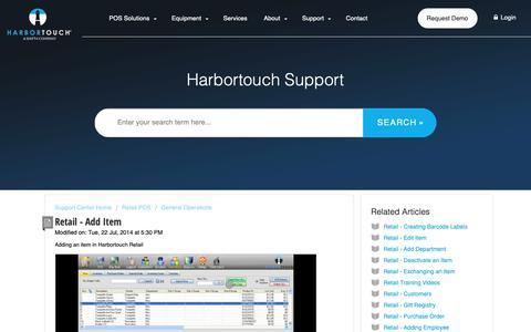 Screenshot of Support Page harbortouch.com - Retail - Add Item : Harbortouch Support Center - captured Oct. 9, 2018