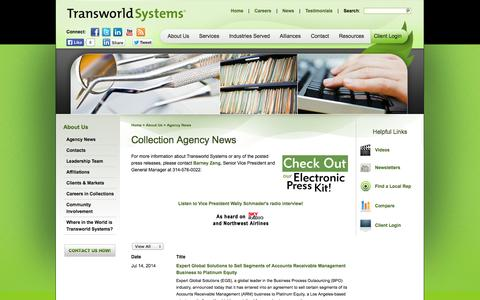 Screenshot of Press Page transworldsystems.com - Transworld Systems | Collection Agency News - captured Oct. 27, 2014