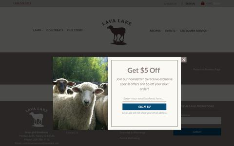 Screenshot of Support Page lavalakelamb.com - Customer Service - Lava Lake Lamb - captured July 20, 2017