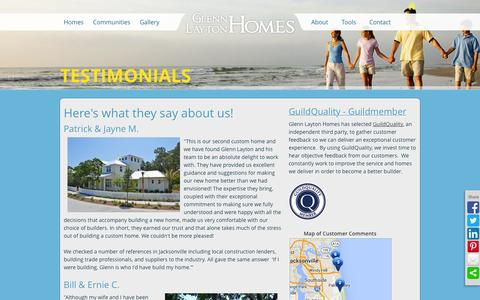 Screenshot of Testimonials Page glennlaytonhomes.com - Customer Testimonials   Glenn Layton Homes Florida Luxury Home Builder - captured Sept. 30, 2014
