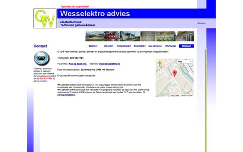 Screenshot of Contact Page wesselektro.nl - Adviseur elektrotechniek; Wesselektro advies contact - captured Oct. 7, 2014