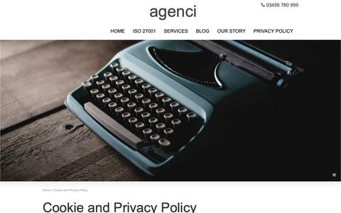Screenshot of Privacy Page theagenci.com - Cookie and Privacy Policy - agenci - captured Oct. 2, 2018