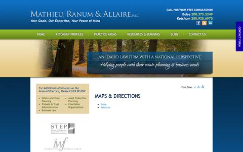 Screenshot of Maps & Directions Page mathieuranum.com - Maps & Directions to the law offices of Mathieu, Ranum & Allaire in Idaho - captured Oct. 17, 2017