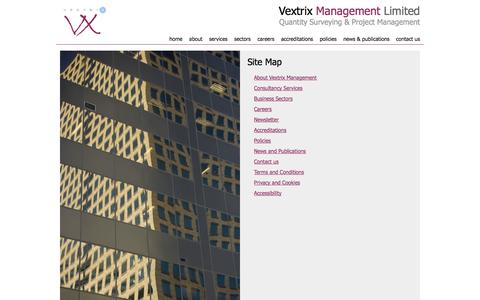 Screenshot of Site Map Page vextrixmanagement.co.uk - Site Map - Vextrix Management Limited - captured Oct. 26, 2014