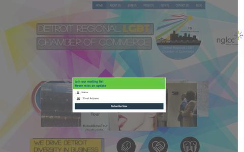 Screenshot of Home Page detroitlgbtchamber.com - Detroit Regional LGBT Chamber of Commerce - captured Feb. 9, 2016