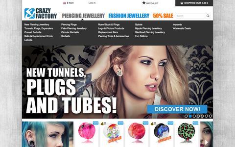 Screenshot of Home Page crazy-factory.com - Crazy Factory Piercing - captured Sept. 24, 2014