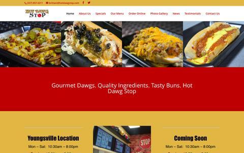 Screenshot of Home Page hotdawgstop.com - Best Hot Dog in Lafayette LA - Hot Dawg Stop - captured Sept. 18, 2015