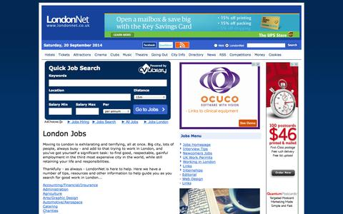 Screenshot of Jobs Page londonnet.co.uk - London Jobs - LondonNet's guide to getting a job in London - captured Sept. 22, 2014