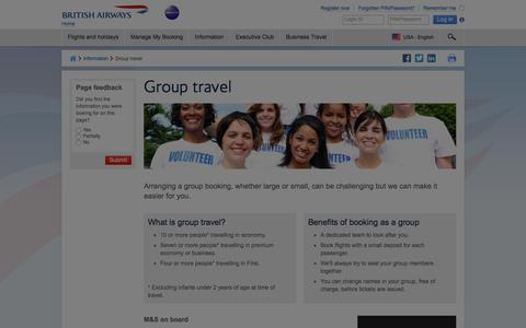 Group travel | Group bookings | British Airways
