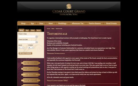Screenshot of Testimonials Page cedarcourtgrand.co.uk - The Grand - Conference facilities at York's 5-Star hotel - captured Oct. 2, 2014