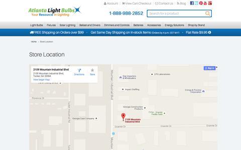 Screenshot of Maps & Directions Page atlantalightbulbs.com - Store Location - captured Jan. 15, 2016