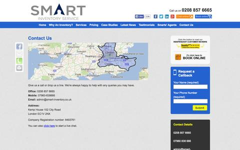 Screenshot of Contact Page smart-inventory.co.uk - Contact Us - Inventory Clerk, Inventory Services in London, Kent, Surrey | Smart Inventory - captured Oct. 9, 2014