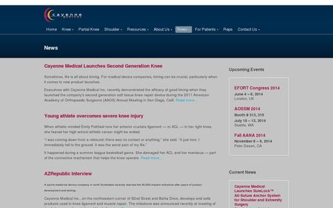 Screenshot of Press Page cayennemedical.com - News | Cayenne Medical | Soft Tissue Reconstruction | Knee and Shoulder Surgery Devices - captured July 19, 2014