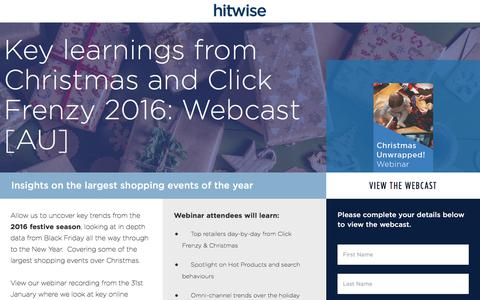 Screenshot of Landing Page connexity.com - Hitwise | Christmas Unwrapped Webcast - captured Sept. 19, 2018