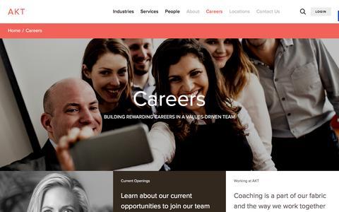 Screenshot of Jobs Page aktadvisors.com - Careers • AKT CPAs | Wealth | Consulting | Portland, San Diego, Anchorage, Salem - captured April 2, 2016