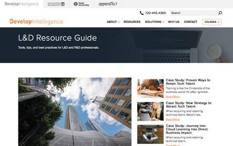 Screenshot of Blog developintelligence.com - Learning and Development Resource Guide | DevelopIntelligence - captured Nov. 10, 2019