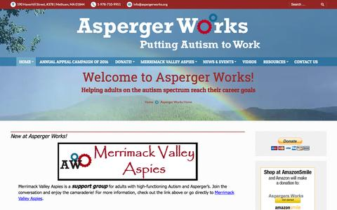 Screenshot of Home Page aspergerworks.org - Asperger Works Inc. | Putting Autism to Work - captured Feb. 6, 2016