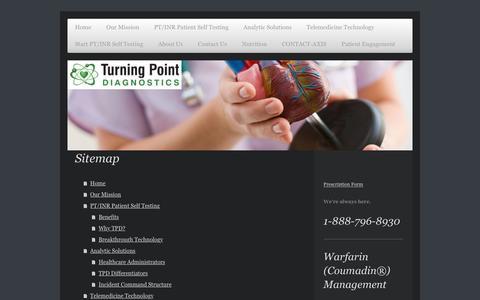 Screenshot of Site Map Page tpdiagnostics.com - Turning Point Diagnostics - Home - captured Dec. 2, 2016